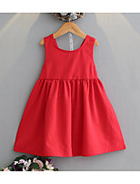 cheap -Girl's Daily Solid Colored Dress, Cotton Polyester Summer Sleeveless Basic Red