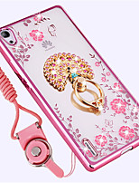 cheap -Case For Huawei P8 Shockproof Rhinestone with Stand Back Cover Flower Soft Silicone for Huawei P7