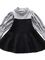 abordables -Robe Fille de Quotidien Vacances Couleur Pleine Mosaïque Coton Polyester Printemps Eté Manches Longues simple Actif Noir
