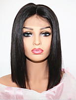 cheap -Virgin Human Hair Lace Front Wig Brazilian Hair Bob Haircut With Baby Hair 130% Density Natural Hairline Short Women's Human Hair Lace Wig