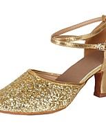 "cheap -Women's Latin Paillette Leatherette Heel Party Training Sequin Buckle Paillette Cuban Heel Gold 2"" - 2 3/4"" Customizable"
