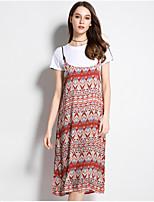 cheap -Women's Plus Size Cotton Set - Solid Color, Pleated Dress