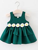 Недорогие -Девичий Платье Повседневные Хлопок Однотонный Лето Без рукавов Активный Зеленый Красный Желтый