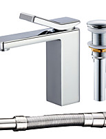 cheap -Contemporary Centerset Widespread Ceramic Valve Single Handle One Hole Electroplated, Faucet Set