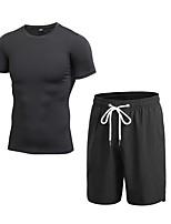 economico -Per uomo Activewear Set Manica corta / Pantaloni corti Traspirabilità Set di vestiti per Fitness Poliestere Blu / Rosso / Bianco / Grigio