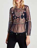 preiswerte -Damen Boho T-shirt Gitter Bestickt
