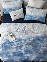 cheap -Duvet Cover Sets Lines / Waves 4 Piece Poly/Cotton 100% Cotton Printed Poly/Cotton 100% Cotton 1pc Duvet Cover 2pcs Shams 1pc Flat Sheet