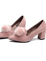 preiswerte -Damen Schuhe Beflockung Frühling Herbst Flaum Futter Bommel High Heels Blockabsatz Spitze Zehe für Normal Party & Festivität Schwarz Rosa