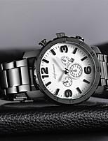 baratos -Homens Quartzo Relógio de Moda Relógio Casual Chinês Calendário Mostrador Grande Aço Inoxidável Banda Luxo Fashion Preta Branco