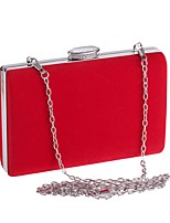 cheap -Women's Bags Polyester Evening Bag Crystals / Solid Black / Red