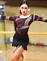 abordables -Danse latine Tenue Femme Utilisation Soie Glacée Bandeau Ruché Demi Manches Taille moyenne Jupes Haut