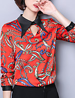 cheap -Women's Puff Sleeve Cotton Shirt - Solid Colored Floral Print Shirt Collar