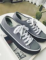 preiswerte -Herrn Schuhe Leinwand Frühling Sommer Komfort Sneakers für Normal Draussen Weiß Schwarz Grau Schwarz/weiss