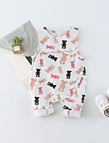 cheap -Baby Unisex Daily Solid Animal Print One-Pieces, Cotton Spring Summer Cute Active Sleeveless Blushing Pink Light Green