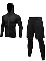 Недорогие -Муж. Activewear Set Длинный рукав / Длинные Пант Воздухопроницаемость Наборы одежды для Бег / Фитнес Полиэстер Черный / Серый /
