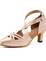 cheap -Women's Modern Satin Heel Party Professional Splicing Customized Heel Gold 3 - 3 3/4 Customizable