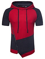 cheap -Men's Sports Slim Hoodie - Solid Colored Block Hooded