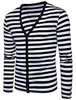 cheap -Men's Cardigan - Striped V Neck