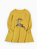 cheap -Girl's Daily Animal Print Dress, Cotton Spring Summer Long Sleeves Simple Yellow