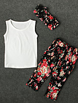 cheap -Girls' Daily Floral Clothing Set, Cotton Polyester Spring Summer Sleeveless Cute Active White