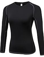 abordables -Femme Tee-shirt de Course Manches Longues Respirabilité Tee-shirt pour Exercice & Fitness Polyester Blanc Noir Bleu Rouge/Blanc Gris S M