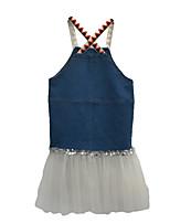 abordables -Robe Fille de Quotidien Couleur Pleine Polyester Printemps Sans Manches simple Bleu