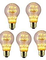 abordables -5pcs 3W 300 lm E26/E27 Bombillas de Filamento LED A60(A19) 47 leds LED Integrado Estrellado Decorativa Blanco Cálido 220-240V
