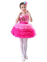 cheap -Ballet Dresses Performance Polyester Pattern / Print Crystals / Rhinestones Tiered Sleeveless High Dress