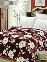 cheap -Coral fleece, Reactive Print Floral Polyester/Polyamide Blankets