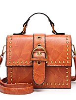 cheap -Women's Bags PU Tote Rivet for Casual Office & Career All Seasons Black Red Dark Green Brown Wine