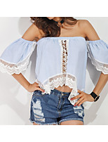 cheap -Women's Going out Cute Cotton T-shirt Off Shoulder Boat Neck
