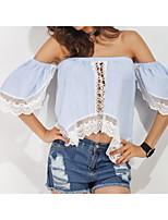 preiswerte -Damen Niedlich Ausgehen Baumwolle T-shirt, Schulterfrei Bateau