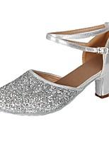 cheap -Women's Modern Paillette Leatherette Heel Party Training Buckle Cuban Heel Silver 2 - 2 3/4 Customizable