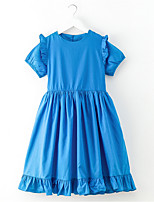 cheap -Girl's Daily Solid Dress, Polyester Spring Short Sleeves Vintage Blue Red
