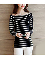 cheap -Women's Vintage T-shirt - Striped Square Neck
