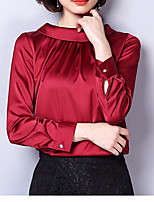 cheap -Women's Daily Simple Blouse Turtleneck Long Sleeves Acrylic
