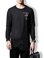 cheap -Men's Long Sweatshirt - Solid, Print Round Neck