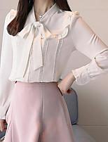 preiswerte -Damen Solide Bluse, V-Ausschnitt Rüsche