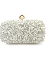 cheap -Women's Bags PU Metal Evening Bag Beading for Event/Party Office & Career All Seasons White