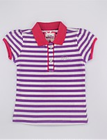 cheap -Girls' Daily Striped Tee, Cotton Summer Short Sleeves Simple Casual Green Blushing Pink Purple