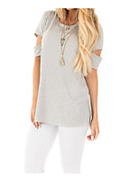 cheap -Women's Simple Cotton T-shirt - Solid Colored