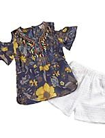 Недорогие -Девочки Повседневные Праздники Однотонный Цветочный принт Набор одежды, Хлопок Полиэстер Лето С короткими рукавами Активный Классический
