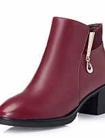 cheap -Women's Shoes Cowhide Fall Winter Combat Boots Comfort Boots Chunky Heel Booties/Ankle Boots for Casual Black Wine