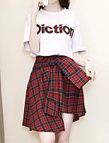 abordables -Mujer Básico Camisa - Letra, Estampado Falda