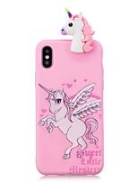 abordables -Funda Para Apple iPhone X iPhone 8 Antigolpes Diseños Manualidades Funda Trasera Unicornio Dibujo 3D Caricatura Suave TPU para iPhone X