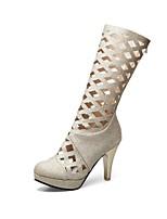 preiswerte -Damen Schuhe Paillette maßgeschneiderte Werkstoffe Glanz Frühling Sommer Gladiator Neuheit Stiefel Stöckelabsatz Runde Zehe Mittelhohe
