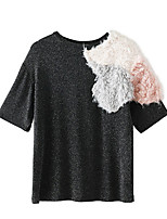 cheap -women's daily simple t-shirt round neck short sleeves pu