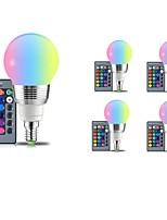baratos -5pçs 5W 400 lm E14 E26/E27 Lâmpada Redonda LED 5 leds SMD Regulável Decorativa Controle Remoto RGB 85-265V
