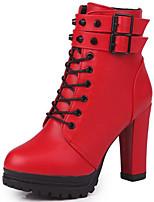 baratos -Mulheres Sapatos Couro Ecológico Outono Inverno Coturnos Conforto Botas Salto Robusto Botas Curtas / Ankle para Casual Preto Vermelho