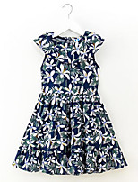 cheap -Girl's Daily Floral Dress, Cotton Spring Summer Sleeveless Simple Casual Blue